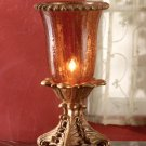 Crackle Finish Amber Glass Hurricane Lamp.