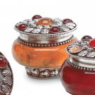 Sandalwood Scented Csndle in Amber Jar With Silver-Plated Lid.