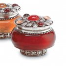 Rose Scented Candle in Carnelian Jar With Silver-Plated Lid.