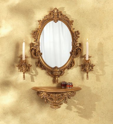 Baroque-Style Wall Furnishing With Mirror.