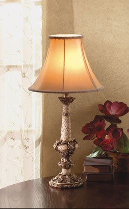 "Antique-Design Table Lamp With Scroll, Leaf, and ""Wicker"" Pattern."
