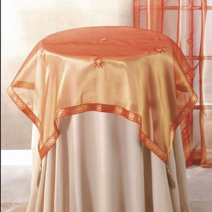 Orange Sun Pattern Tablecloth With Runner.