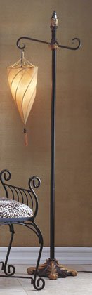 Floor Lamp With Spiral Hanging Shade.
