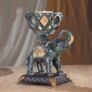 Elephant With Upraised Trunk Candle Holder.