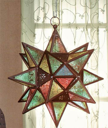Star-Shaped Candle Lantern Reminiscent of Moroccan Designs.