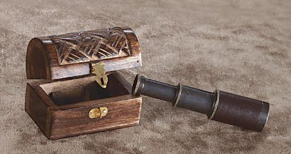 Hand-Carved Mango Wood Box Holds Leather Covered Telescope.