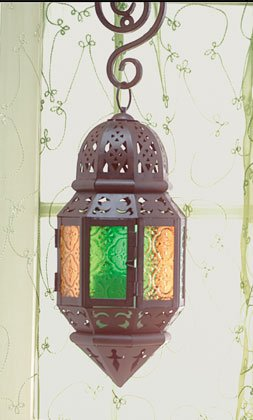 Moroccan-Style Metal Candle Lantern With Colored Glass Panels