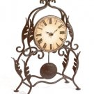 Uniquely Shaped Wrought Iron Frame Desk Clock.