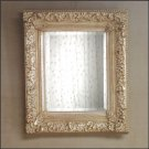 Beveled Wall Mirror With Antique Silver-Finish Alabastrite Frame.