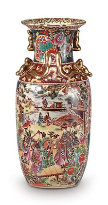 Gold-plated vase with Asian-inspired designs