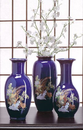 Blue vases in three different shapes