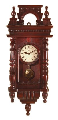Hand-carved wood wall clock