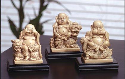 Mandarin Ivory  see, hear, speak no evil Buddhas
