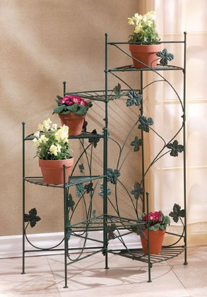 Ivy-motif plant stand with six shelves.