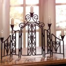 Fence design wrought iron candle holder