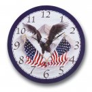 American Eagle and Flag Wooden Clock