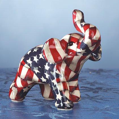 Miniature American flag Patchwork elephant. Porcelain