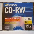 Memorex CD-RW 4X 12X High Speed 700MB 80min - 1 Pack Slim Jewel Case
