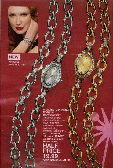 Ladies' Sparkling Watch & Bracelet Set