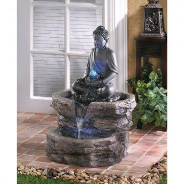 "NEW Sitting Buddha Holding Orb Water Fountain 21 1�8"" x 20 1�8"" x 29 3�8"""
