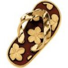 14 K Yellow Gold Red Enamle Flip Flop Charm