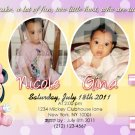 Minnie Mouse Twins First Birthday Invitaions. 4 x 6 you print High Res digital file