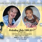 Mickey Mouse Twins First Birthday Invitaions. 4 x 6 you print High Res digital file