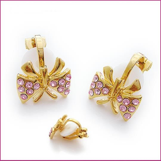 Dancing Butterfly Crystal Clip Earrings