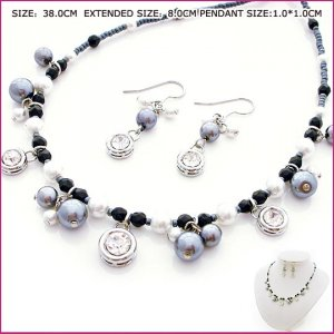 Black Pearl & Zircon Jewelry Set