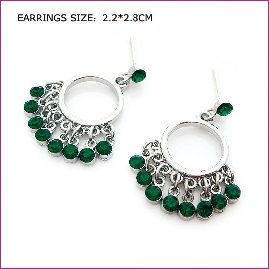 Green Crystal Edging Pierced Earrings