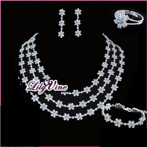 Crystal Flower Bride Jewelry Set, Sets