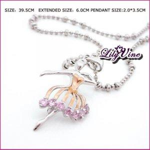 Pink Ballet Zircon Necklace, Necklaces