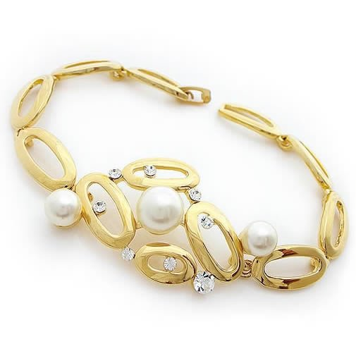 Perfect Pearls & Crystal Golden Bracelet, Bracelets
