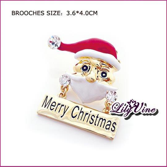 Merry Christmas Santa Claus Crystal Brooch, Brooches