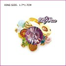 Multi Color Crystal Gold Plated Crystal Ring, Rings
