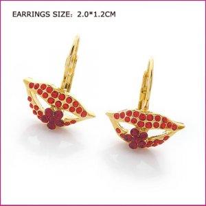 Red Lip Golden Pierced Earrings, Pierced earrings, Earrings