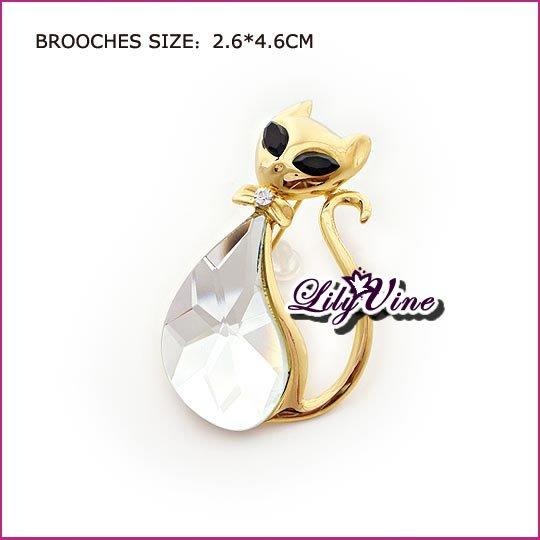 Crystal Cat Brooch, Brooches
