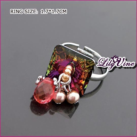 Colorful Crystal Silver Plated Crystal Ring, Rings
