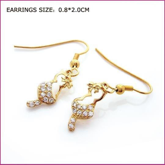 Zircon Golden Pierced Earrings, Pierced earrings, Earrings