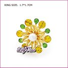 Green Crystal and Citrine Flower Gold Plated Crystal Ring, Rings