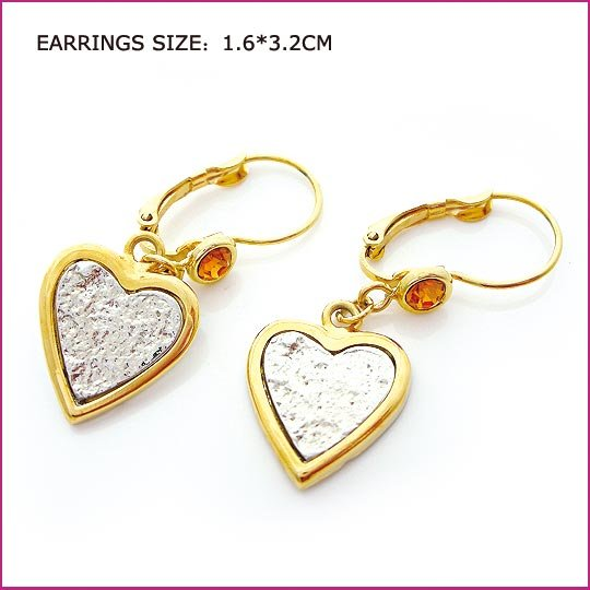 Golden Plated Heart Pierced Earrings, Pierced earrings, Earrings