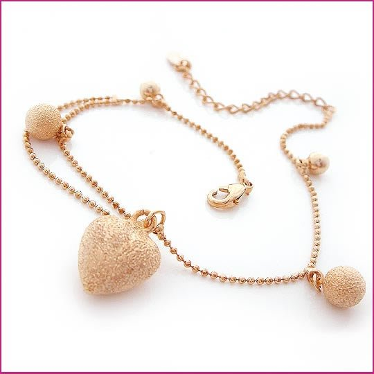 Golden Heart Crystal Anklet, Anklets