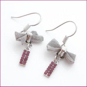 Silver Cravat Pierced Earrings, Pierced earrings, Earrings