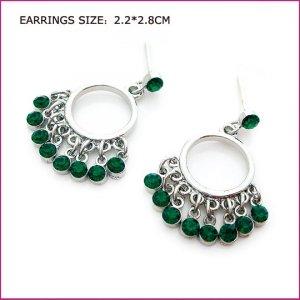 Green Crystal Edging Pierced Earrings, Pierced earrings, Earrings