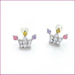 Crown Pierced Earrings, Pierced earrings, Earrings