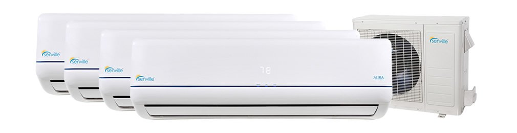 4 Rooms 9000 BTU 600 Squ ft. Cooling & Heating Mini Split Ductless Air Conditioner w/Remote