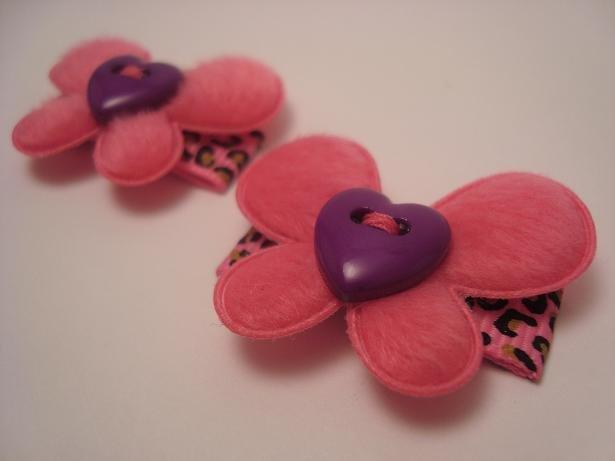 Pink Leopard Butterfly Clips