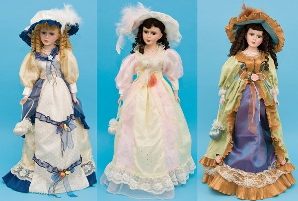 """26 """" H Porcelain Victorian Doll W/ Stand"""