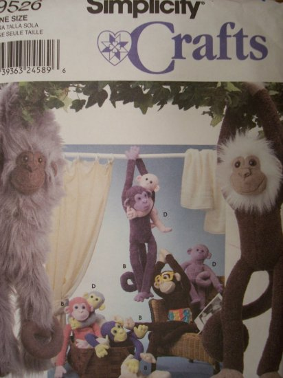 Simplicity Crafts Pattern 9526 Longia Miller Design Monkies in Two Sizes