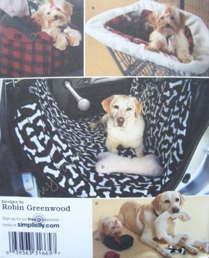 Simplicity Pattern 2984 Travel Accessories for Dogs - Car Seat, Shopping Cart Cover, Car Seat Cover
